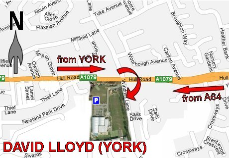 Map showing directions to David Lloyd, York