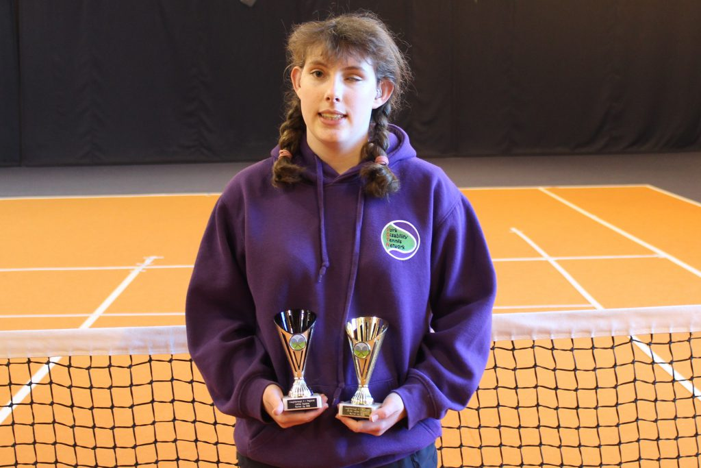 Lydia Wrightson with her runners-up trophies from the Blind Regional tournament in Loughborough February 2018