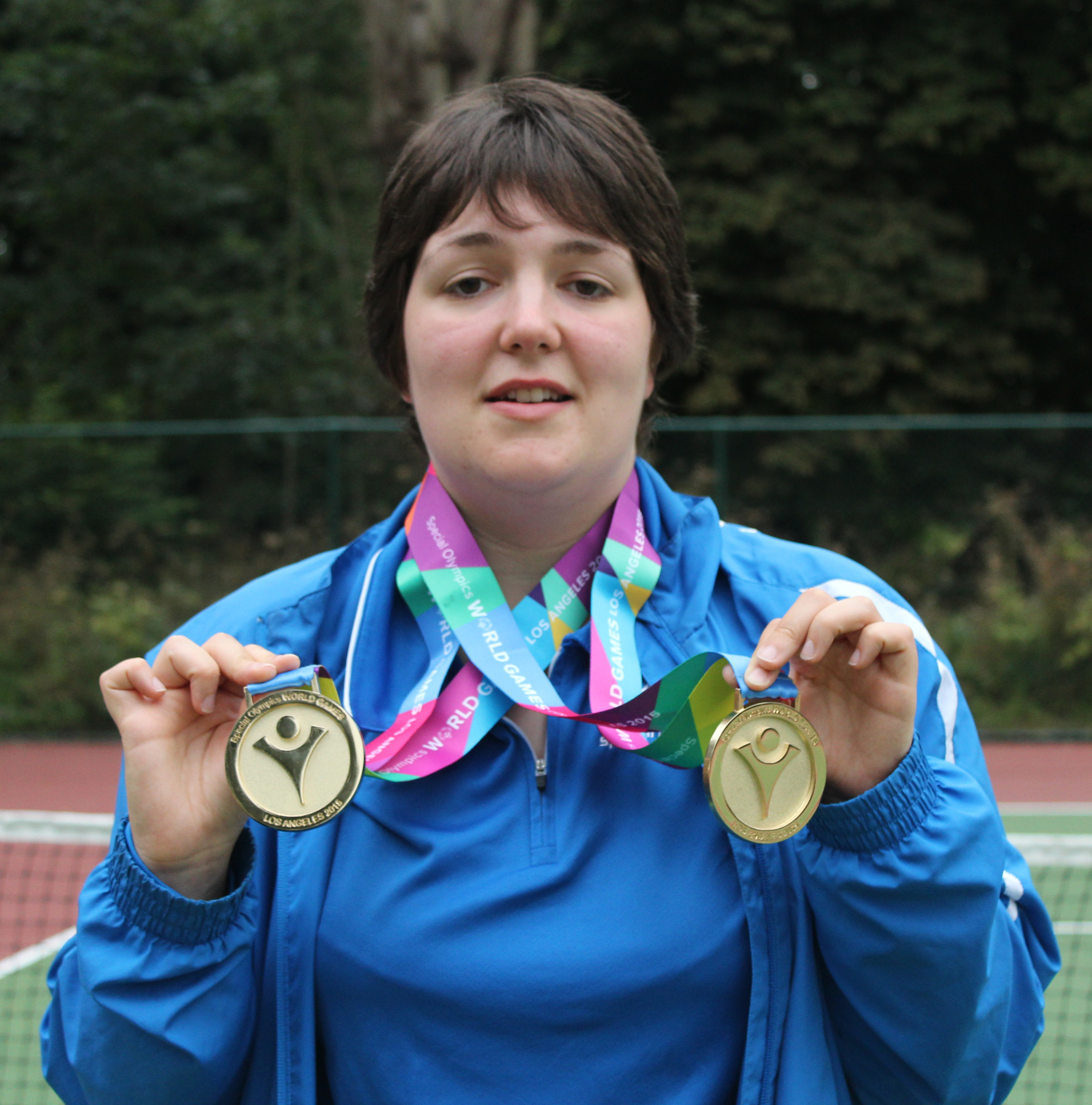 Laura Campbell with her two Gold medals from the Los Angeles World Games 2015