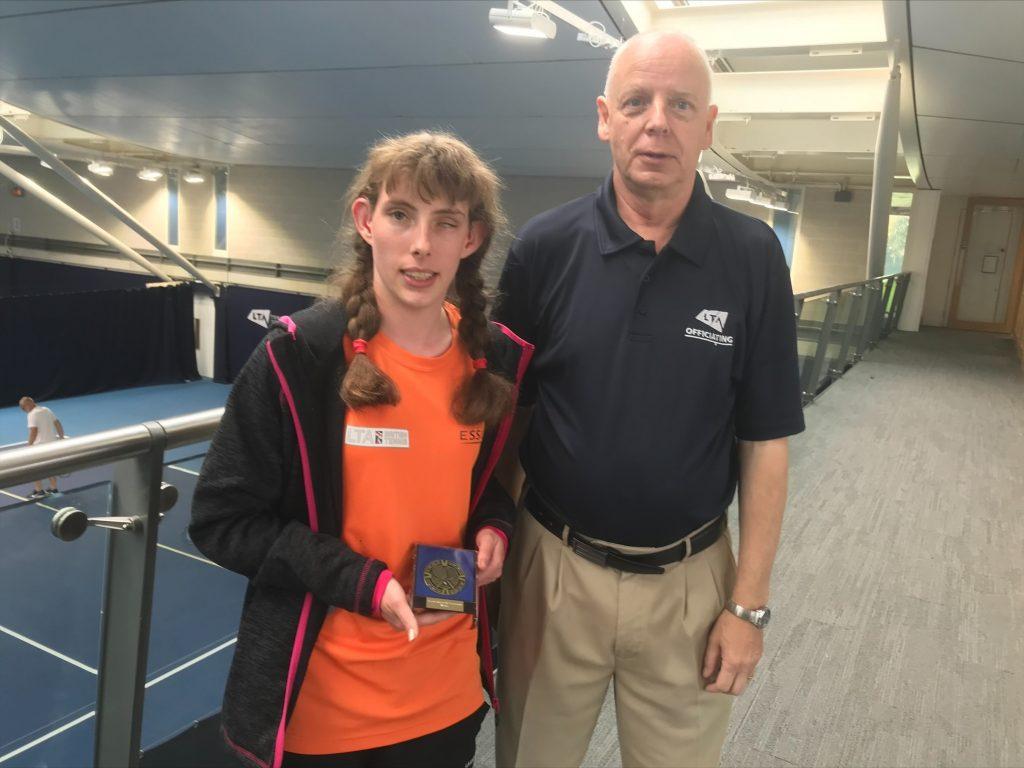 Lydia Wrightson, winner of the Surrey Regional Visually Impaired B4/B5 Singles
